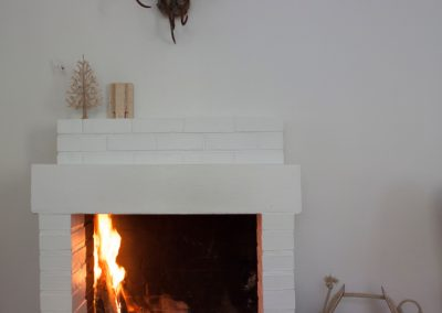 Open fire and reindeer horns
