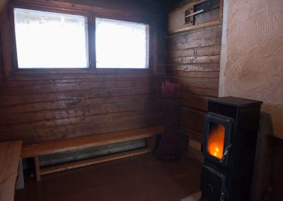 Open fire sauna