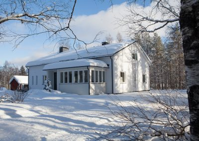 Villa Apukka from outside in winter near artic circle